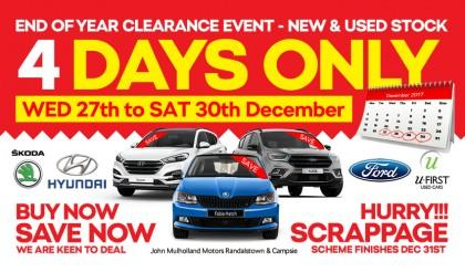 Do not miss our 4 Day Clearance Event - Huge discounts on selected new & used stock