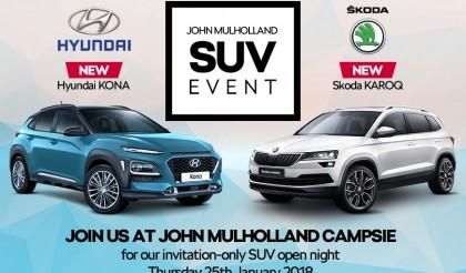 New for 2018! Meet the new Hyundai KONA and Skoda KAROQ at our special SUV open night.